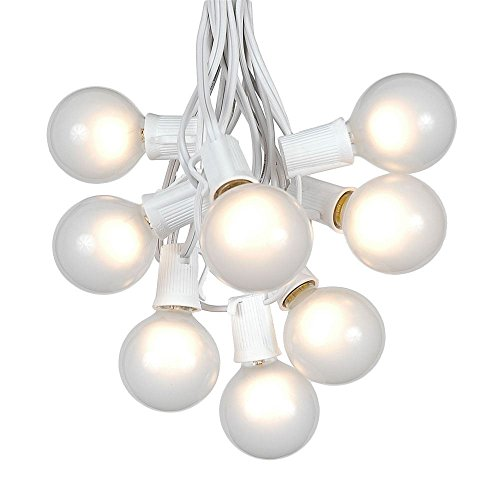 G50 Patio String Lights with 25 Frosted White Globe Bulbs - Wedding Outdoor String Lights - Market Bistro Café Hanging String Lights - Patio Garden Umbrella Globe Lights - White Wire - 25 Feet (Frosted Lights String)