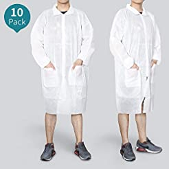 Reliancer 10 Pack Disposable Lab Coats P...