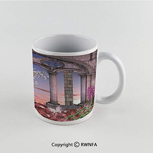 - 11oz Unique Present Mother Day Personalized Gifts Coffee Mug Tea Cup White Gothic,Ancient Colonnade in Secret Garden with Flowers at Sunset Enchanted Forest,Grey Blue Lilac Red Funny Ceramic Coffee T