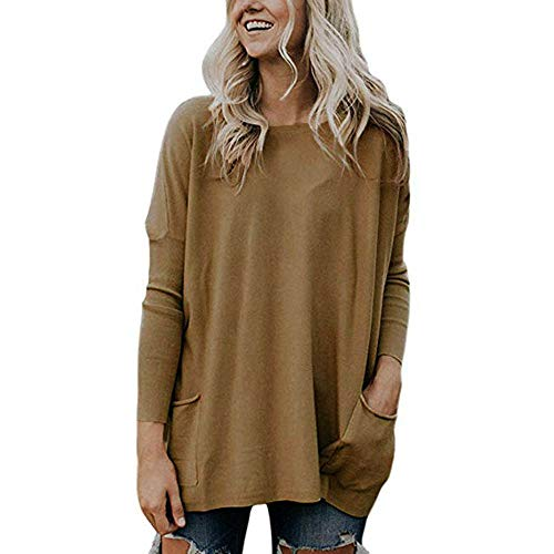 Ladies Fedora Furry Hat (POHOK Women's Pockets Long Sleeve Round Neck Pullover Sweater Loose Solid Tops Blouse)