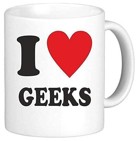 I Love Heart Geeks Mug Regalos para mujeres Novedad Taza de ...
