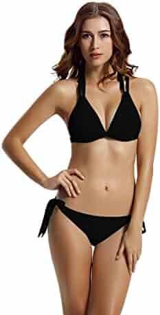 d7004e605a7b9 zeraca Women's Tie Side Bottom Criss Cross Triangle Bikini Bathing Suits
