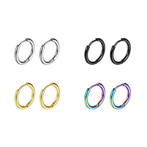 JIUBAN Surgical Stainless Steel Hoop Earrings 8mm/10mm/12mm Small Huggie Hoop Earrings for Women and Men (B: Diameter 10mm (4 Color),4 Pairs)