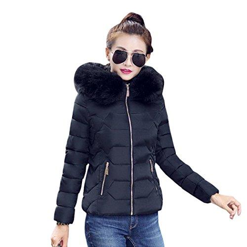 giacca Con leggero Cappotto Donna Nero Autunno Down Manica Caldo Cappuccio Colletto BeautyTop invernali Cappotto Piumino PawxP7vq
