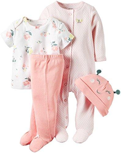 Carter's Baby Girls' 4 Piece Sets, Light Pink/Floral, 9 Months