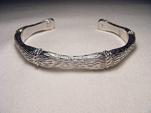 Gorgeous Estate 14K White Gold Bamboo Bangle Cuff Slip-On Bracelet