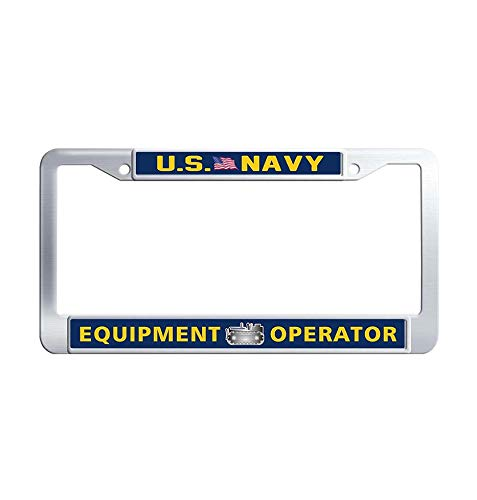 JiuznsFrame US Navy Equipment Operator License Plate Frame, Waterproof Stainless Steel Metal Car Licence Plate Covers Holder with Screw Caps