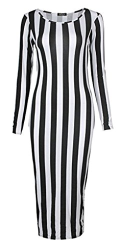 RM Fashions Womens Plus Size Animal Printe Long Sleeve Bodycon Midi Dress Vertical Stripe Large-XL US 12/14 (UK 16/18)
