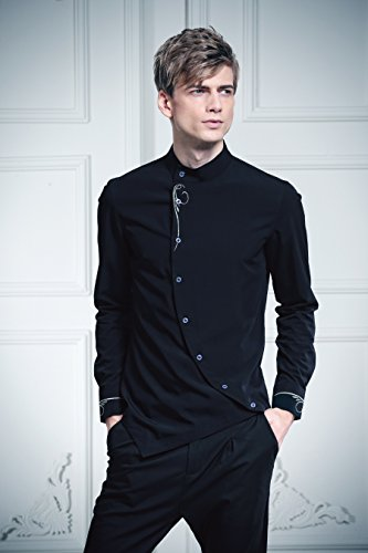 817b96d327309 FANZHUAN Camisa Negra Hombre Manga Larga Cuello Mao Fashion Slim Fit  Amazon .es  Ropa y accesorios