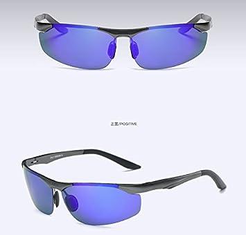 TIANLIANG04 Mens Gafas polarizadas sin Reborde en Espejo de Aluminio Circular Gafas de Sol polarizadas Lentes