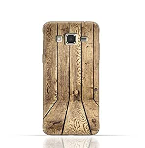 Samsung Galaxy Grand 2 TPU Silicone Case with Wood Texture Old Panels Pattern