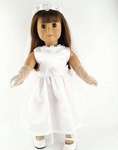 Lovelyelf Doll Clothes - Beautiful Handmade First communion/Wedding Dress Fits 18 inch Girl Doll, My Life Doll, ZKB251