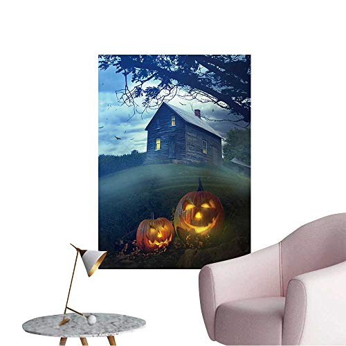 Wall Stickers for Living Room Halloween Pumpkins in Front of a Spooky House Vinyl Wall Stickers Print,16