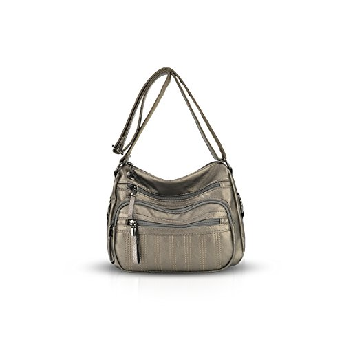 DORIS NICOLE Multiple Elderly Hobo Compartments Bronze Crossbody with Handbag Sophisticated for amp; Women 55pqxw1r