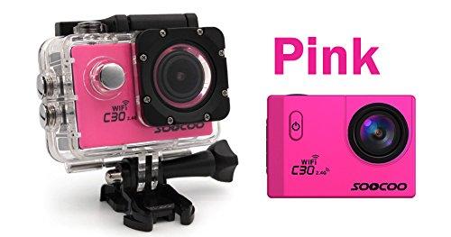 eptek @ 16 GB TF Karte + 4 K Wifi Sport Action Kamera, soocoo C30R Action Kamera Wasserdicht 20 MP 170 Grad Weitwinkel Sport Video Kamera 2 LCD Bildschirm/2,4 GHz Fernbedienung (Pink)