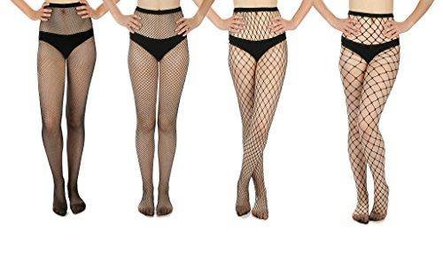 Women's Fishnet Stockings, Multi Pack (Assorted, 4)