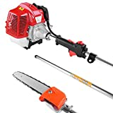 Yesjoy 43CC Gas Pole Saw Pruner Petrol Chainsaw, 8.2FT to 11.3FT, Cordless Extension String Trimmer Brush Cutter, Powerful 1100W 2 Cycle Air Cooled Engine, for Tree Garden Lawn Trimming Pruning