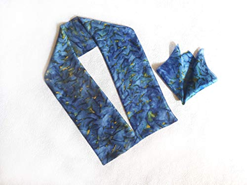 Blue Silk Cummerbunds - Mens Silk Ascot Scarf and Pocket Square Blue Yellow Hand Painted