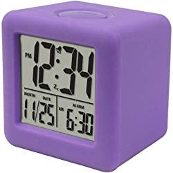 Sleek and Stylish Equity by La Crosse Cube LCD Alarm Clock (Purple)