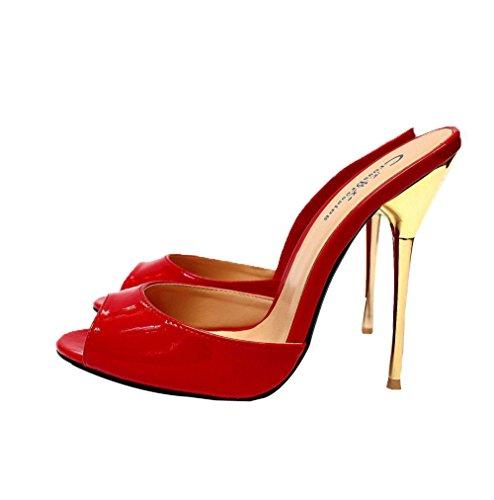 Artificial Sandals PU BFMEI Sra Sandalias Yardas 40 De De Brightred 48 Tacón Slippers Casual Fashion amp; Metal La I8qA8w0