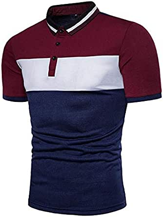 Men's POLO Shirt Three-Color Stitching Fashion Casual Men's Short Sleeve