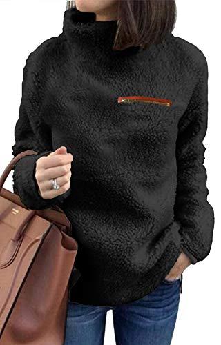 (Pullover Sweaters for Women Long Sleeve Fleece Sweatshirt Blouse Warm Top Black Solid X-Large)