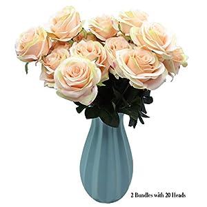 DAMOOSS Love Pink Rose Flower Bouquet 2 Bundles with 20 Heads,Artificial Silk Rose Flower Perfect for Birthdays, Wedding or Anniversary 37