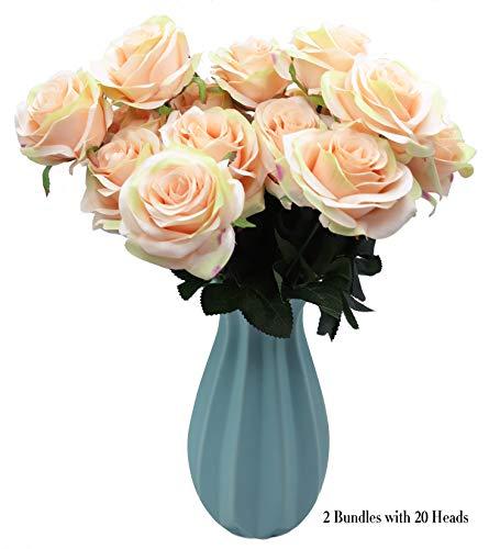 DAMOOSS Love Pink Rose Flower Bouquet 2 Bundles with 20 Heads,Artificial Silk Rose Flower Perfect for Birthdays, Wedding or Anniversary