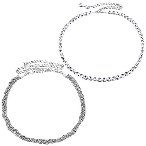 kilofly 2pc Women Elegant Silver Metal Thin Chain Clasp Skinny Belts Waist Bands