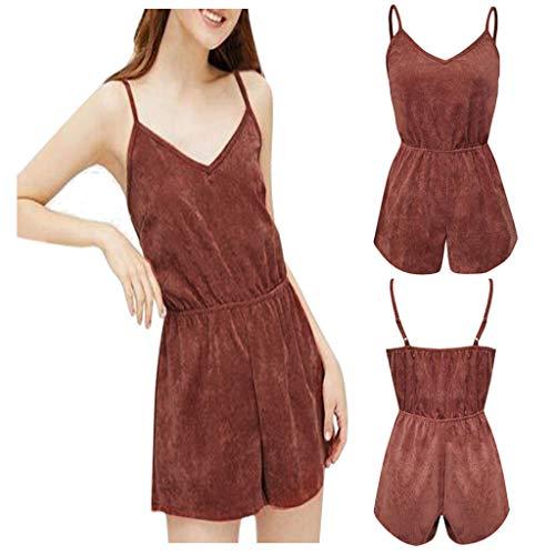 Psunrise Mono Women Fashion Causal Adjustable Strap V-Neck Elastic Waist Sleeveless Short Camis Jumpsuit(L, Black) by Psunrise (Image #4)