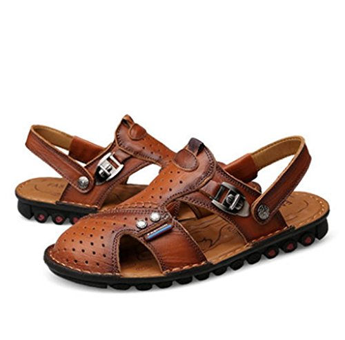 W&XY Sandals leather slip-resistant men's dual-use beach surf sandals slippers 39