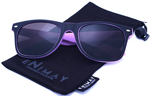 Enimay Unisex Men's Women's Casual Classic Wayfarer Sunglasses Matte Finish Matte Purple One - Wayfarer Dark Sunglasses Tint