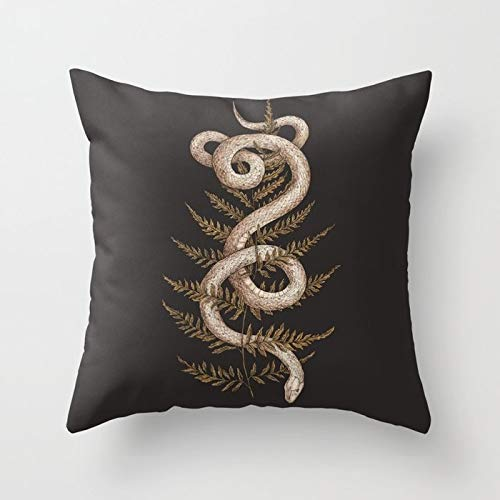 Personalized Throw Pillow Cover Cotton Decorative Pillow Case Cover Home Sofa Cushion Cover Square Design 18×18 inch/45x45cm – The Snake and Fern