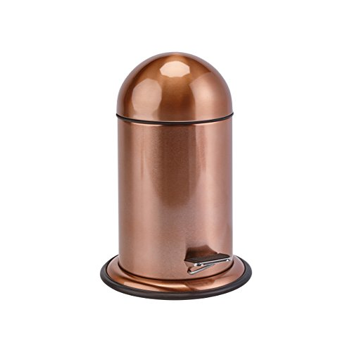 Lura Round Stainless Steel Pedal Wastebasket Trash Can for Bath, Kitchen, Office (Polished Copper)