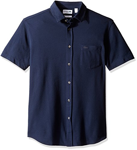 Lacoste Men's Short Sleeve Full Button Slim Fit Polo-PH2035, Navy Blue, 6