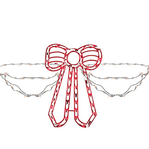 Sienna Set of Swag Style Christmas Lights with Red Shimmering Bow - White - Lighted Bow