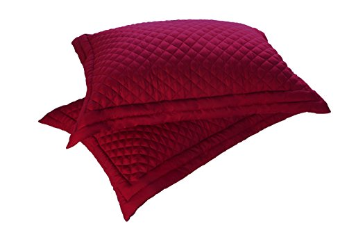 Lotus Home Microfiber Stain and Water Resistant Diamond Quilt Sham (2 Pack), King, Red (Red Quilted Sham)
