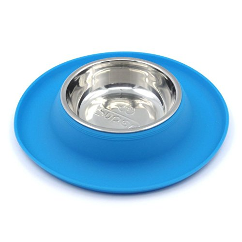 SuperDesign Single Stainless Steel Bowls in Non-Skid & No Spill Silicone Mat,for Small Dogs or Cats, Small, Blue