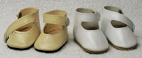 JOINER Shoes For Dolls, 2 Pairs White and Cream Faux Leather Shoes, Shoes with Bottons Size: (L) 5.2 (W) 2.85 cm ( H) 3.0 cm. For 16-18 inches ()