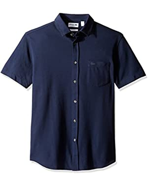 Men's Casual Elegance Short Sleeve Full Button Slim Fit Polo