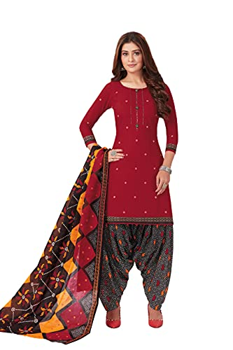 Miraan Women Cotton Unstitched Dress Material (BANDCOL820, Multi-Coloured, Free Size)