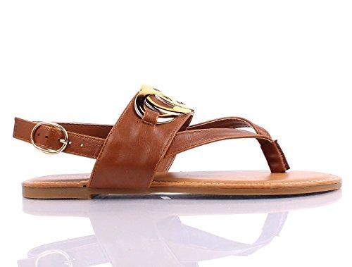 Nieuwe Mode Zomer Kunstleer Gemakkelijk Slip Op Gesp Slingback Womens Sandalen Casual Flats Schoenen Nieuw Zonder Doos Kastanje