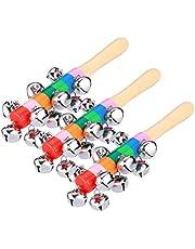 Holibanna 3pcs Wooden Handbell Rattle Hand Bells Musical Wooden Instrument Educational Toy