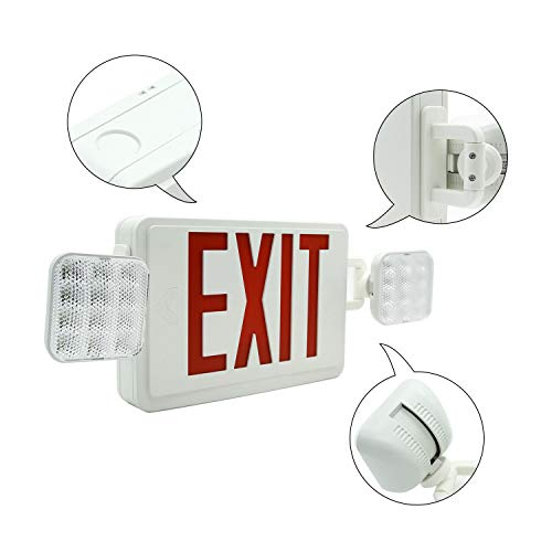 HYD-PARTS 6 Packs Emergency EXIT Sign LED Light Fixture Two Heads Fire Safety Lights Plus Back Up Battery Pack, Commercial, Fire Resistant, US Standard Red Letter - UL Listed (Red) by HYD-Parts (Image #2)