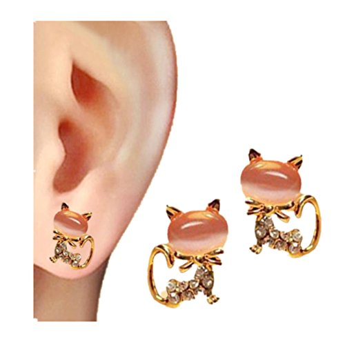 Gallity Women Korean Fashion Cute Diamond-encrusted Cat Stud Earrings Stone Crystal Rhinestone Stud Earrings (A)