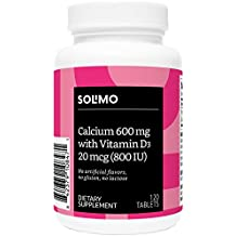 Amazon Brand - Solimo Calcium 600mg with Vitamin D3 20mcg (800 IU), 120 Tablets, Two Month Supply