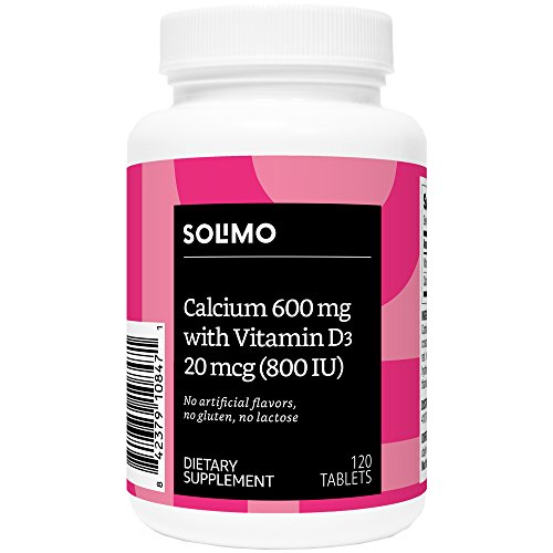 Amazon Brand - Solimo Calcium 600 mg with Vitamin D3 20 mcg (800 IU) per serving (2 Tablets), 120 Tablets