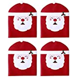 Hemoton 4PCS Christmas Chair Cover Santa Clause Thicker Tear Resistant Chair Slipcover Decorations for Dining Room 19.7'X23.6'