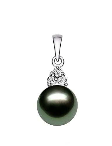 14K White Gold AAA Quality Black Tahitian Cultured Pearl Pendant with Diamonds