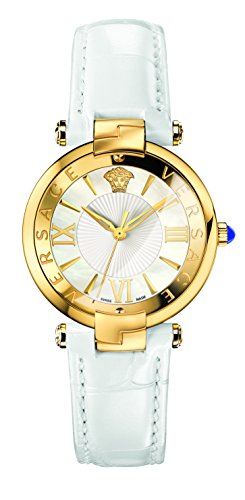 Versace Women's 'REVE' Swiss Quartz Stainless Steel and Leather Casual Watch, Color:White (Model: VAI030016)